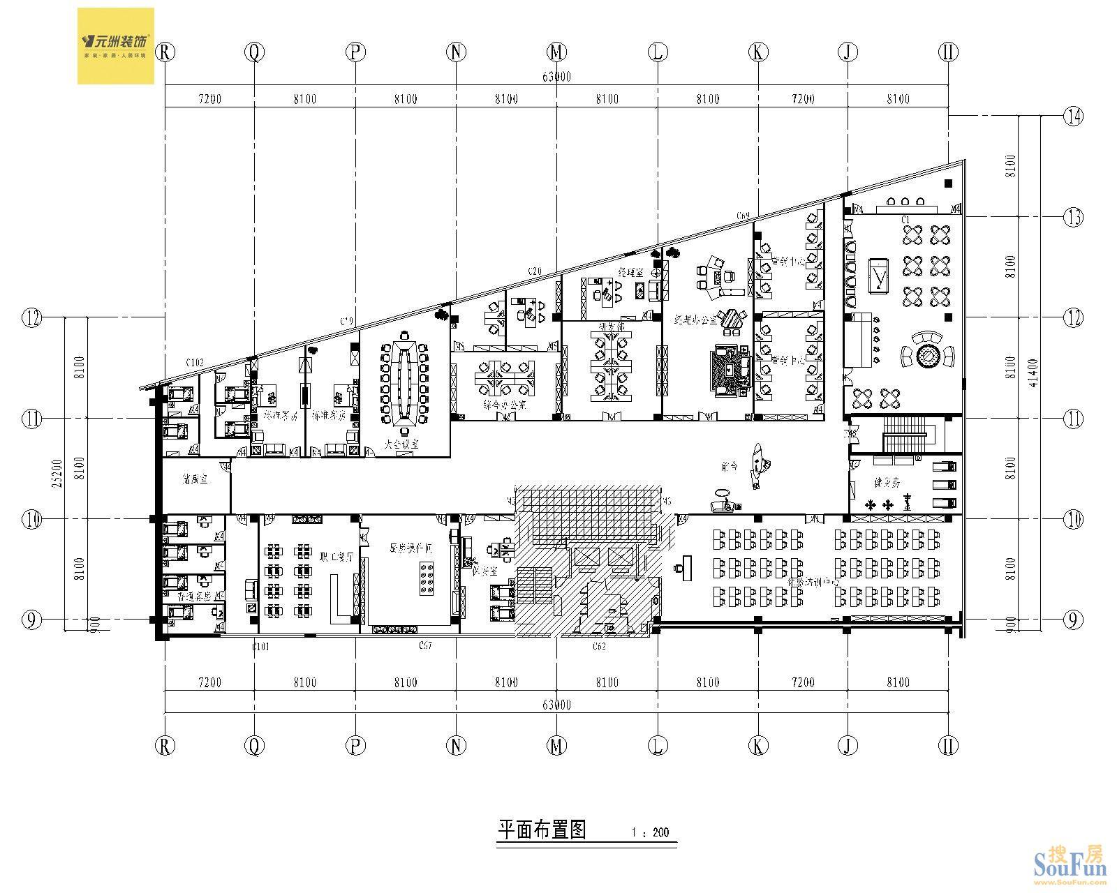 多功能厅平面图-200平1室1厅 现代简约风格装修案例 预算12万元图片