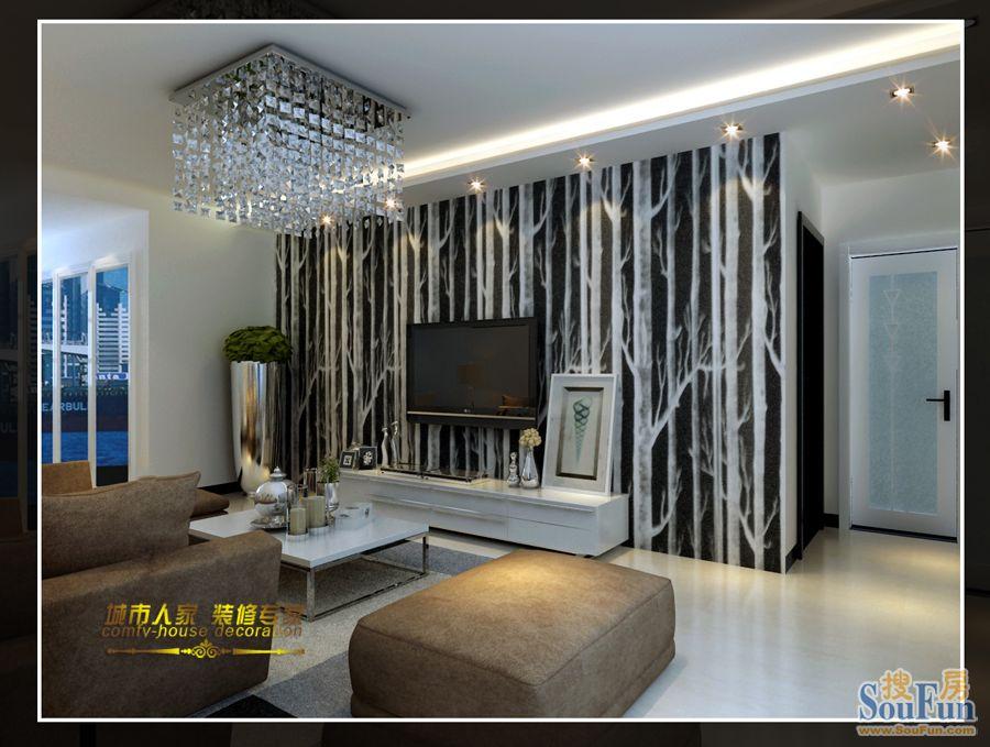 品阁-二居室-90㎡-客厅装修效果图-90平2室2厅 现代简约风格装修案例 高清图片