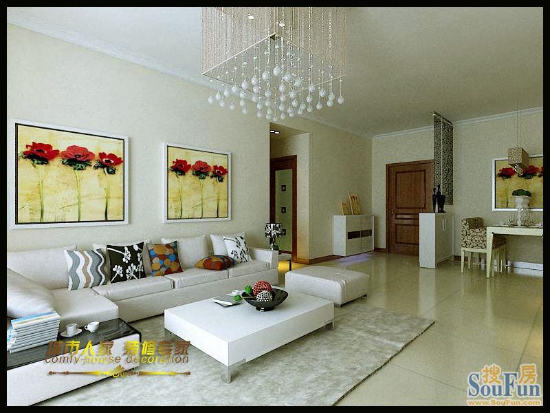 88平2室2厅 现代简约风格装修案例 预算3万元 高清图片