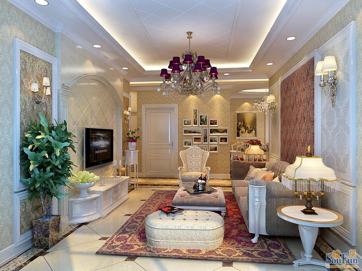 欧美风格室内装�_115平3室2厅 欧美风情风格装修案例 预算10万元