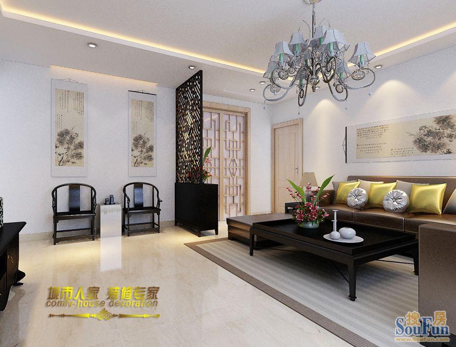 二居室-90㎡-客厅装修效果图-90平2室2厅 现代简约风格装修案例 预高清图片