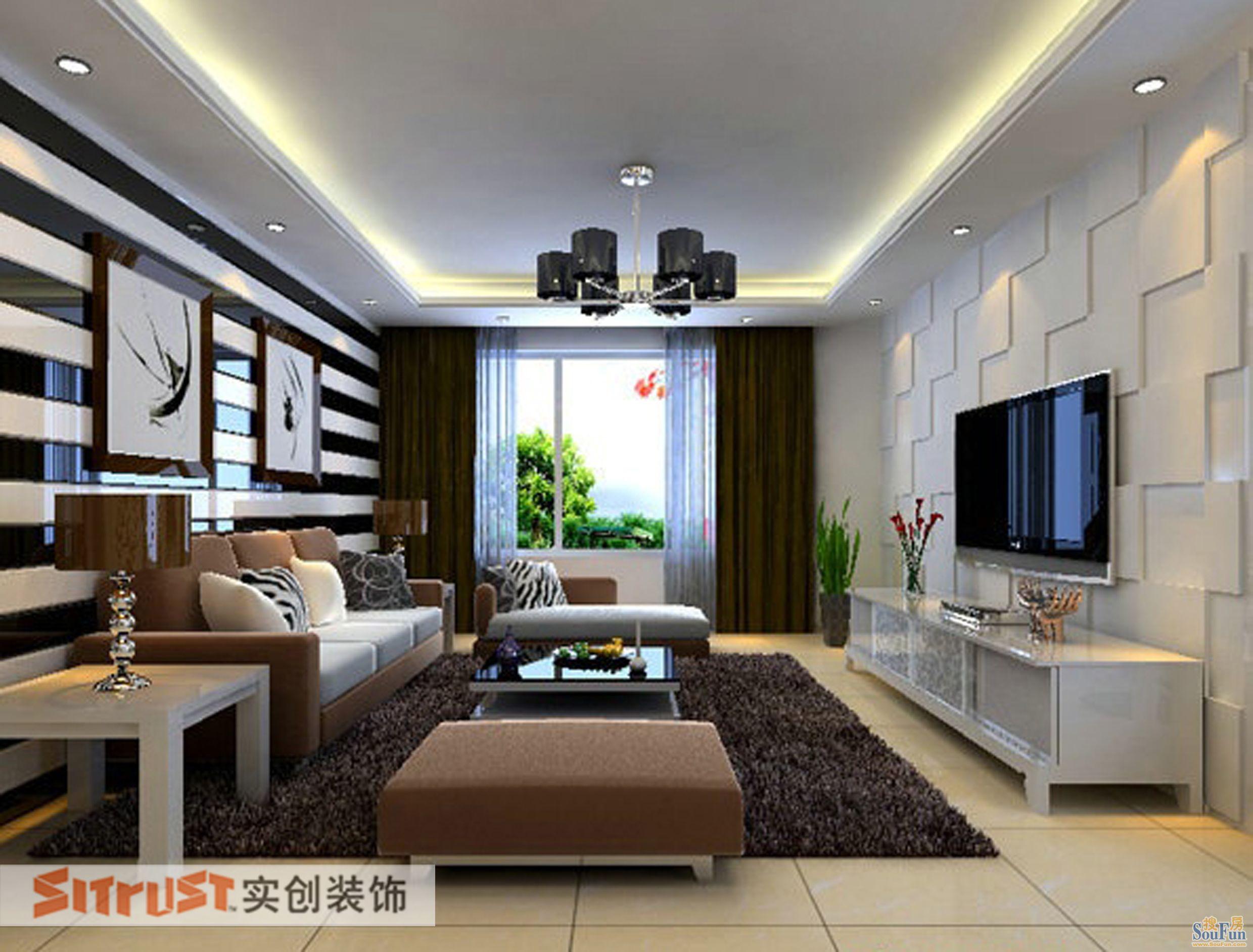 卧室石膏板造型吊顶木饰面、顶面石膏顶角线、书房书柜、床头高清图片