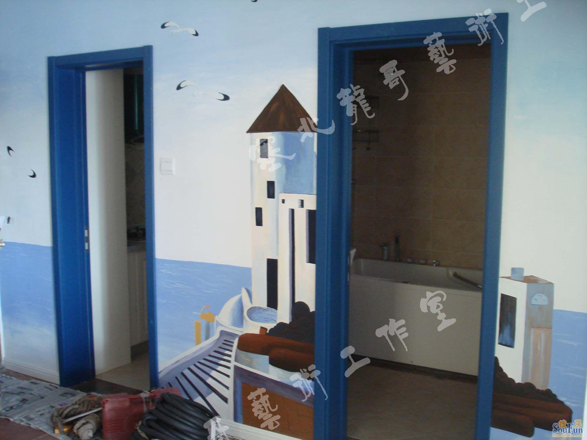 艺术生活地中海风格墙绘手绘墙墙艺漆