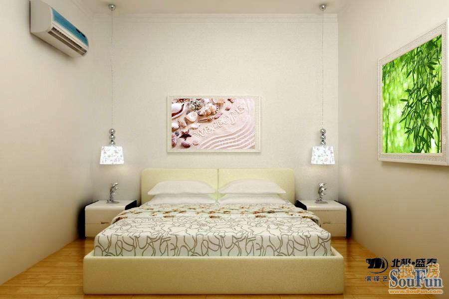 北郡-三居室-90㎡-卧室装修效果图-90平3室1厅 现代简约风格装修案例 高清图片