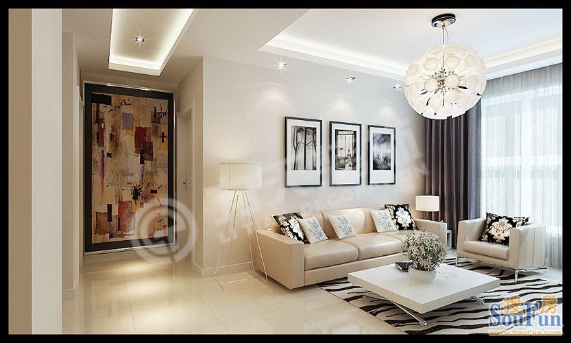 85平2室1厅 现代简约风格装修案例 预算4.6万元高清图片