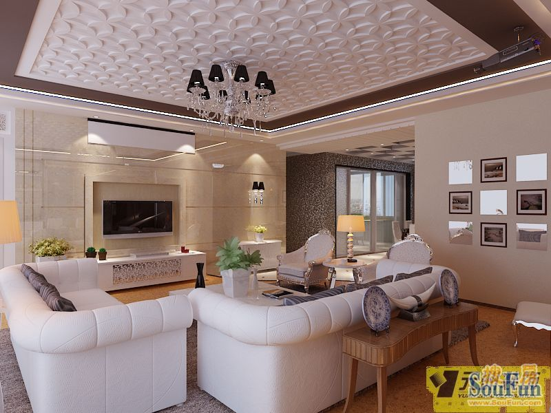 200平3室2厅 现代简约风格装修案例 预算30万元 高清图片