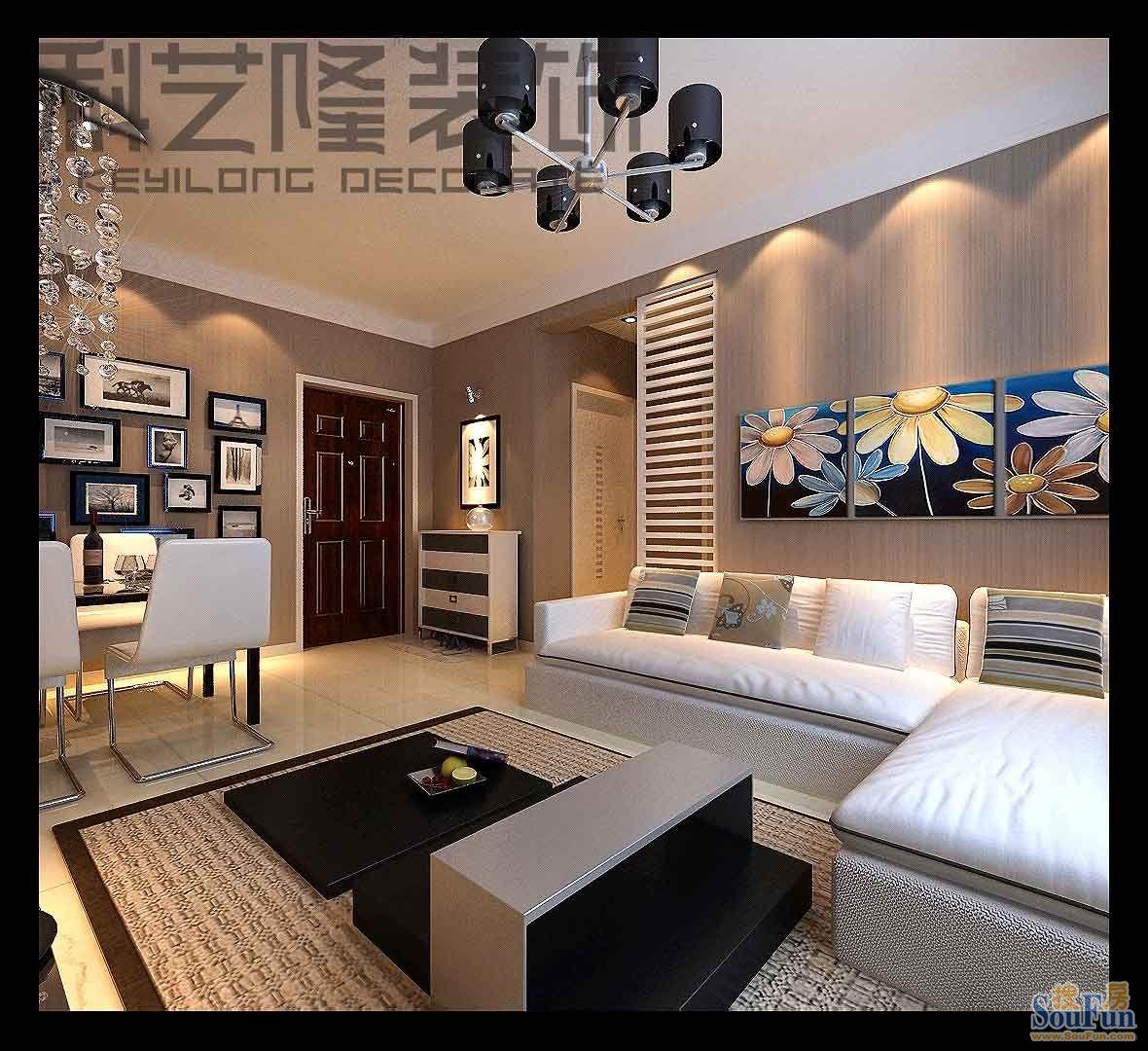 98平2室2厅 现代简约风格装修案例 预算12万元高清图片