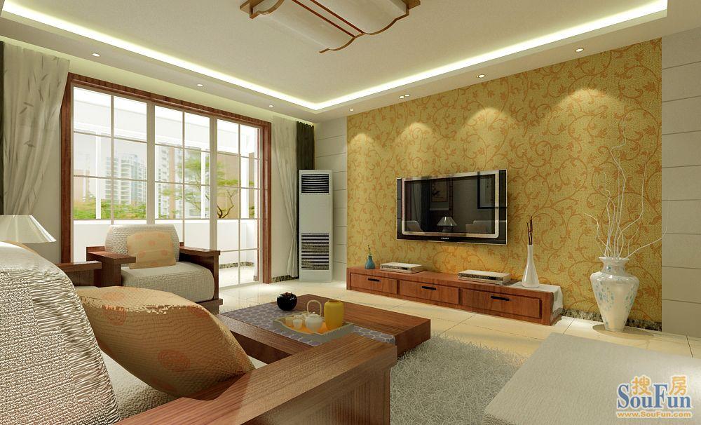 90平2室1厅 风格装修案例 预算12万元高清图片