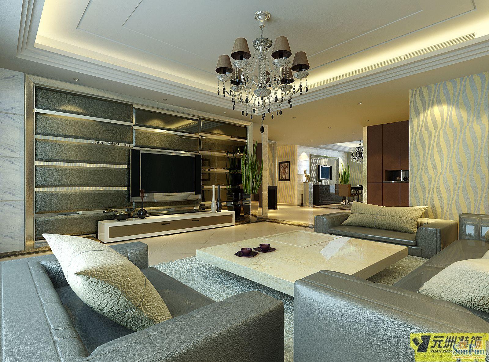 提香草堂-三居室-130㎡-客厅装修效果图   提香草堂-三居室-高清图片