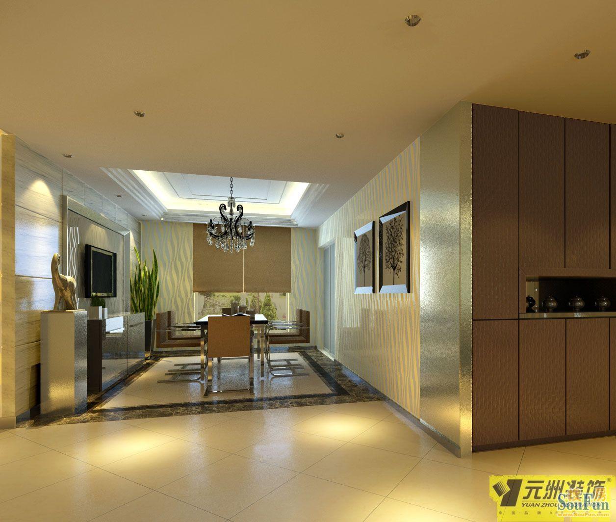 效果图   提香草堂-三居室-130㎡-客厅装修效果图   元洲装饰高清图片