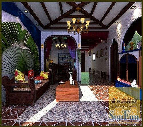 东南亚风格二居室装修效果图120平米5万东南亚风格二居室装修案例大图片
