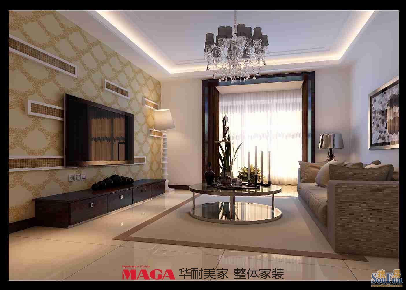 88平2室2厅 现代简约风格装修案例 预算8万元高清图片