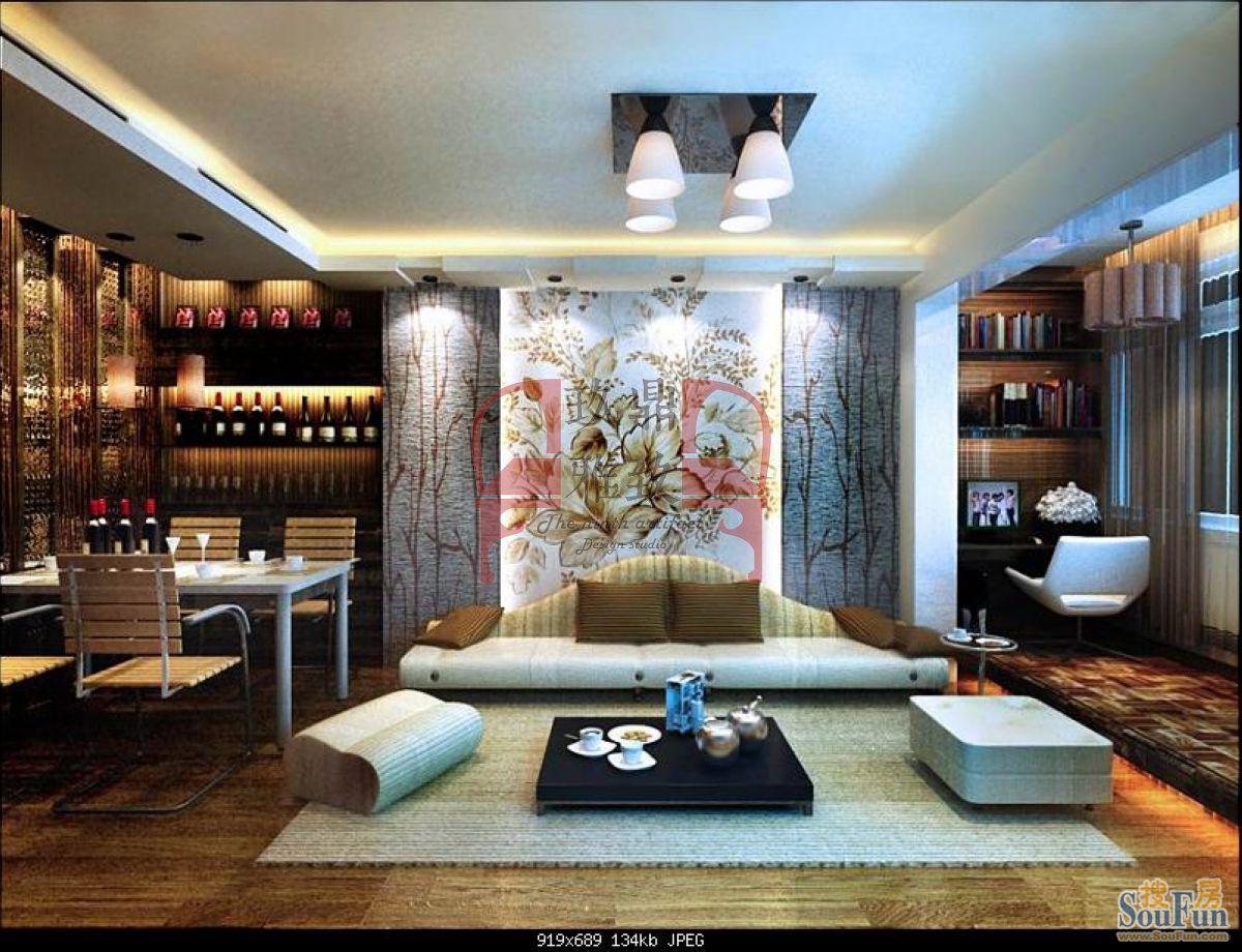云汉大厦-二居室-90㎡-客厅装修效果图-90平2室2厅 现代简约风格装修