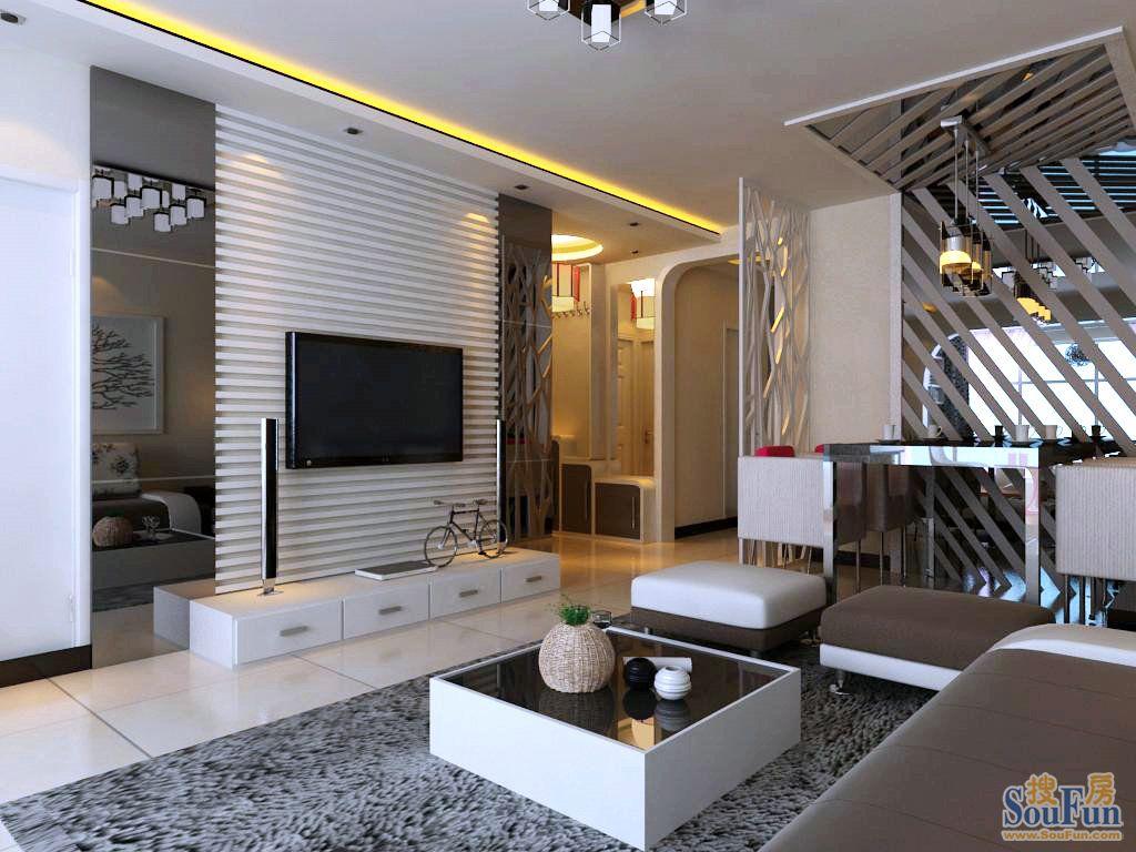首开长青藤-二居室-95㎡-客厅装修效果图-95平2室2厅 现代简约风格装