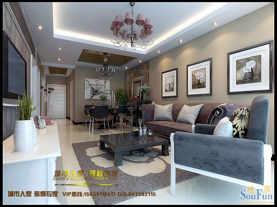 国粹-二居室-93㎡-客厅装修效果图-93平2室2厅 现代简约风格装修案例 高清图片