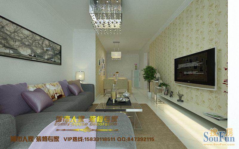 富源城国礼-二居室-93㎡-客厅装修效果图-93平2室2厅 现代简约风格装高清图片
