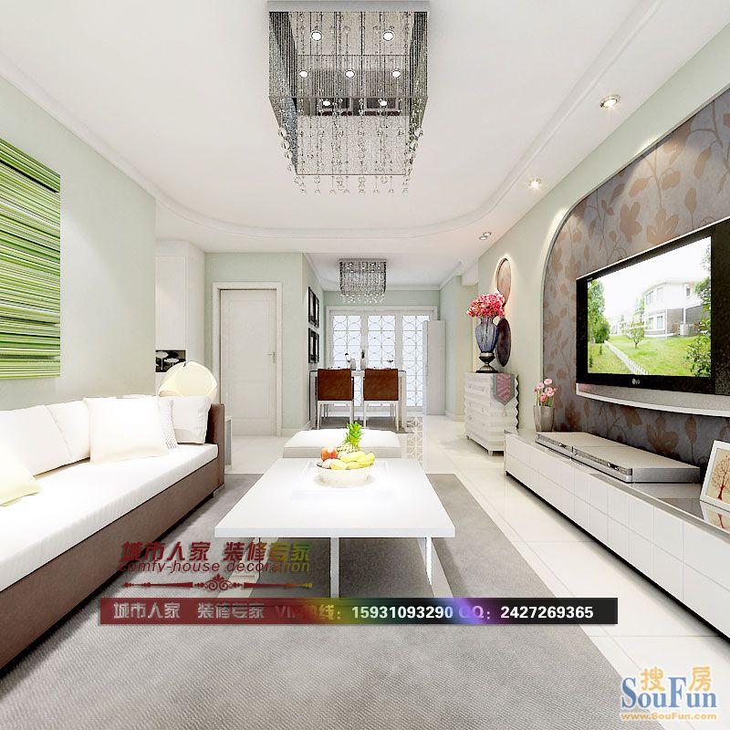 瑞城-二居室-90㎡-客厅装修效果图-90平2室1厅 现代简约风格装修案例 高清图片