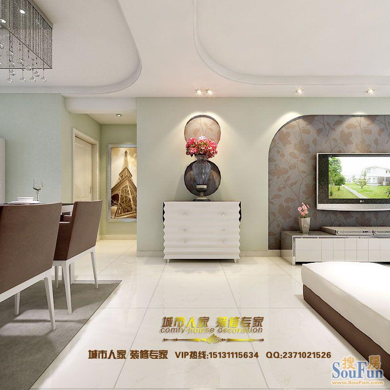 瑞城-二居室-93㎡-客厅装修效果图-93平2室2厅 现代简约风格装修案例 高清图片