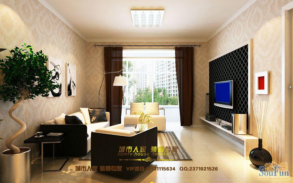 98平2室2厅 现代简约风格装修案例 预算3万元高清图片