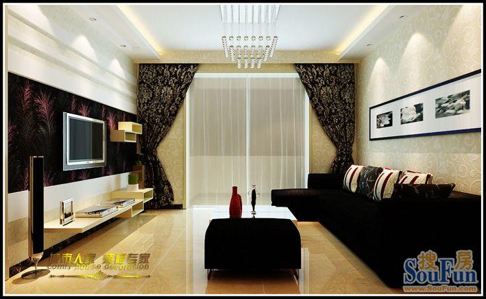 98平2室1厅 现代简约风格装修案例 预算3.5万元高清图片