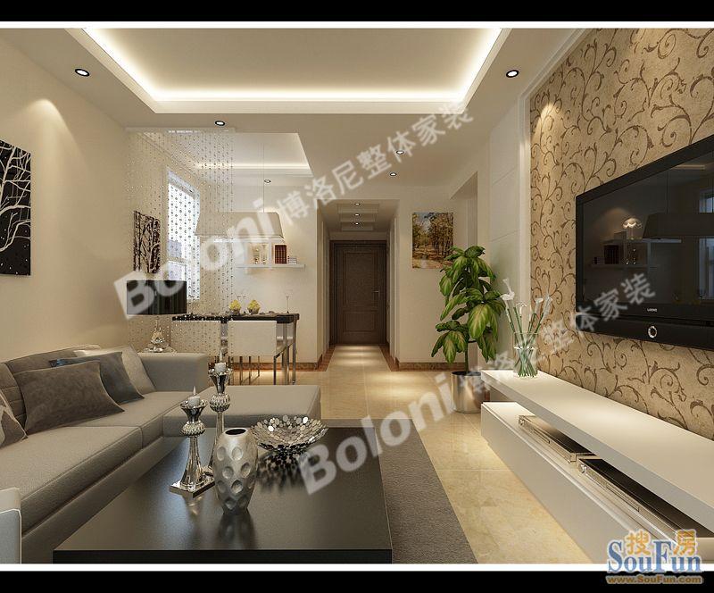 98平2室2厅 现代简约风格装修案例 预算6.8万元高清图片