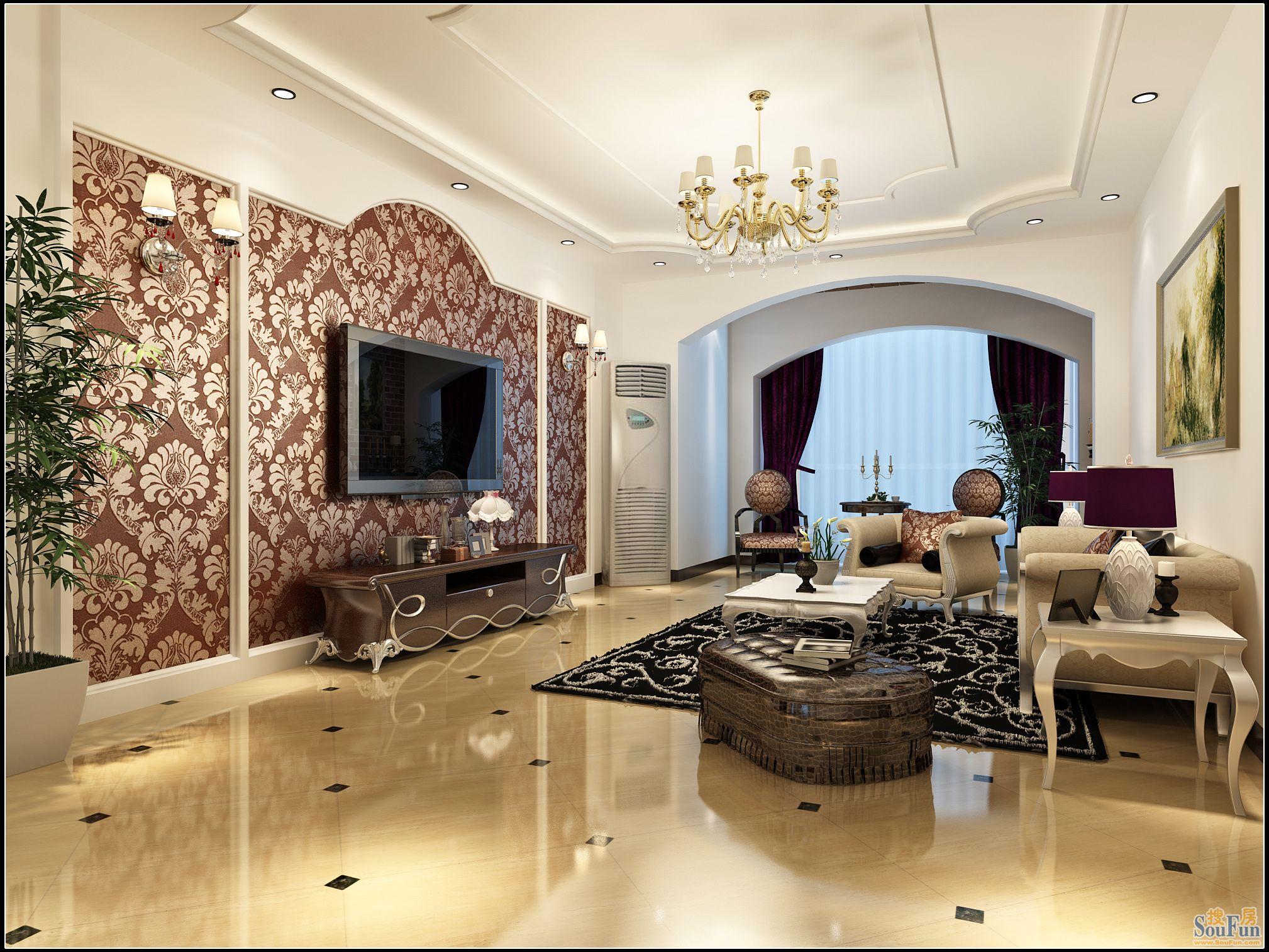 领秀慧谷-三居室-158.28㎡-客厅装修效果图
