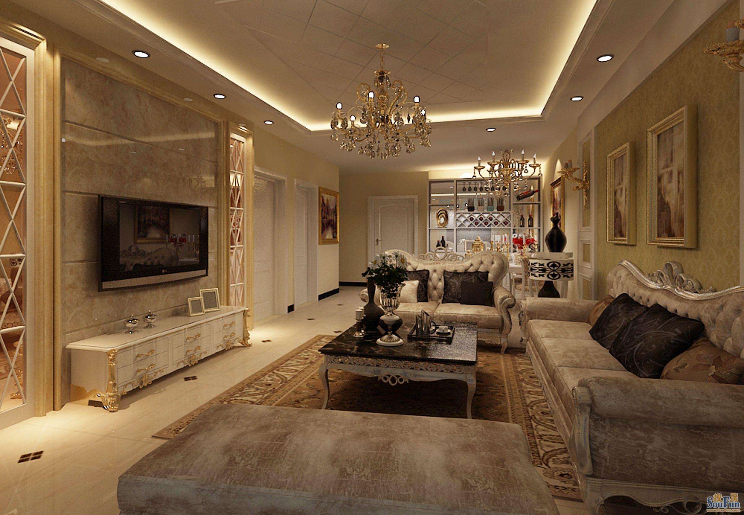 孔雀城英国宫-二居室-90㎡-客厅装修效果图