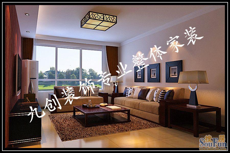 7㎡-客厅装修效果图-147平3室2厅 现代简约风格装修案例 预算7.2万元高清图片