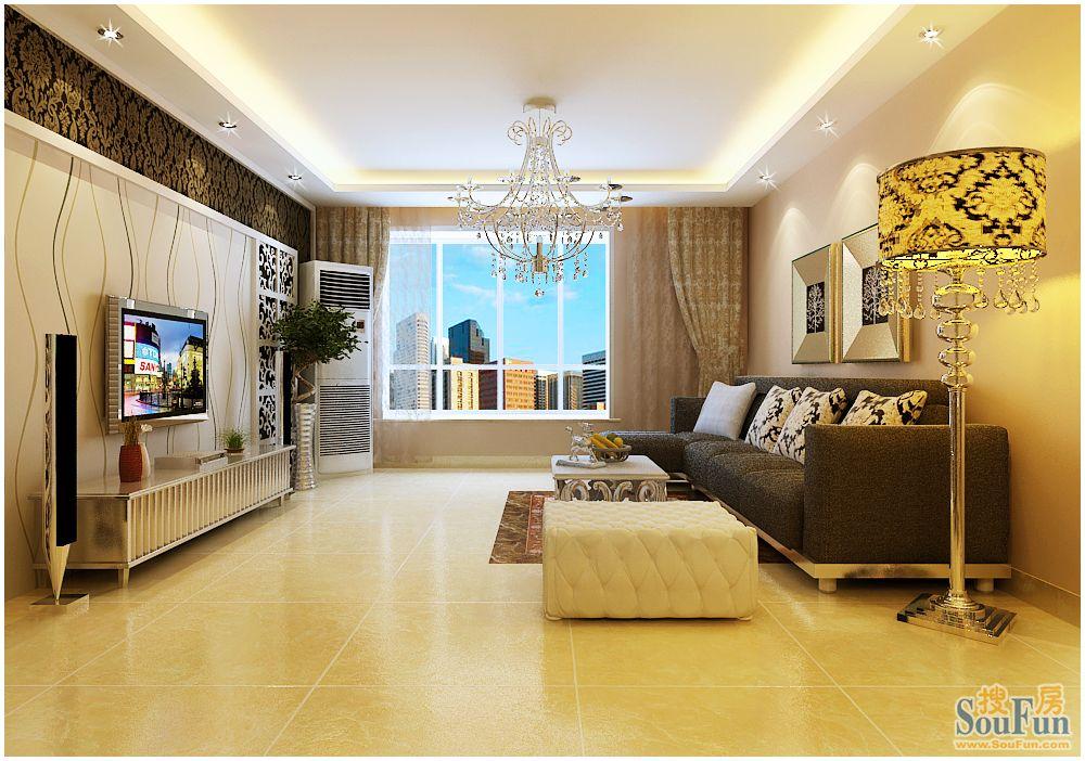 国粹-三居室-118㎡-客厅装修效果图-118平3室2厅 现代简约风格装修案