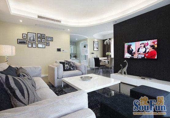 景城-二居室-90㎡-客厅装修效果图-90平2室2厅 现代简约风格装修案高清图片