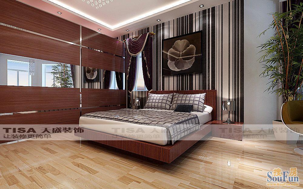 -94㎡-卧室装修效果图-94平3室1厅 现代简约风格装修案例 预算5.8万元高清图片