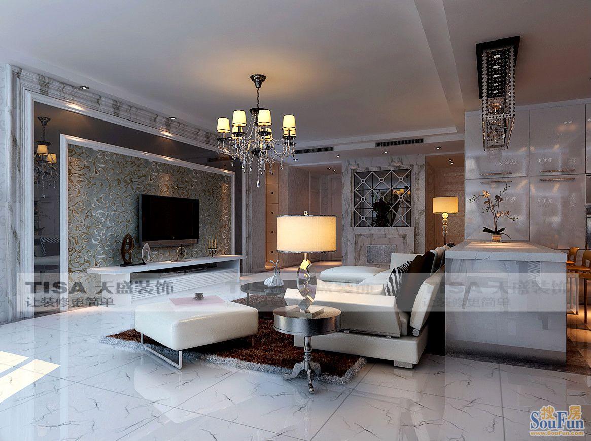 简洁140平简欧新时尚设计效果图 三居室 140平米 装修设计 高清图片