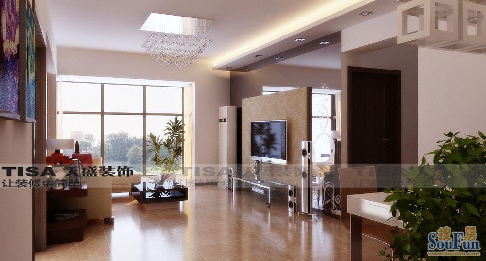 80平2室1厅 现代简约风格装修案例 预算5.3万元高清图片