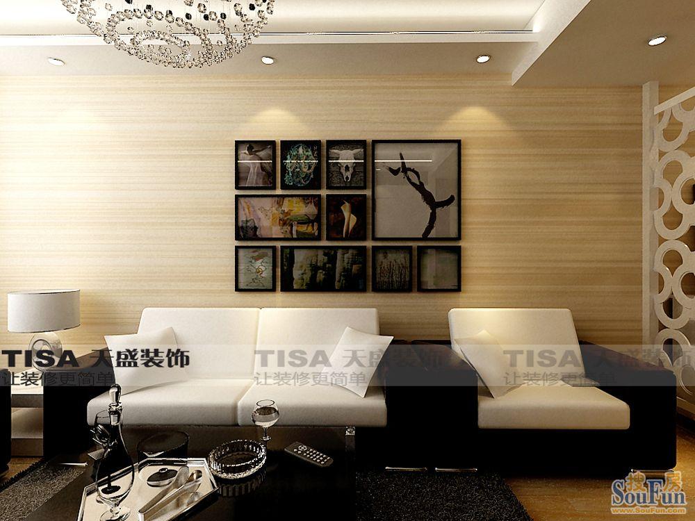 93平2室1厅 现代简约风格装修案例 预算5.8万元高清图片