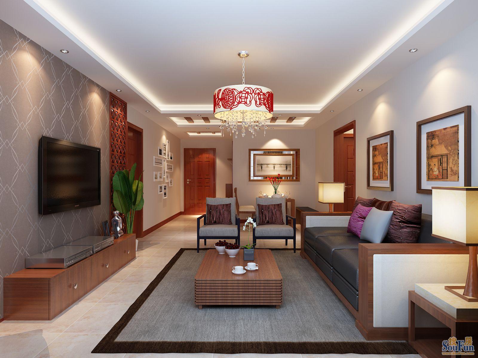 110平3室2厅 东南亚风格风格装修案例 预算7.9万元 高清图片