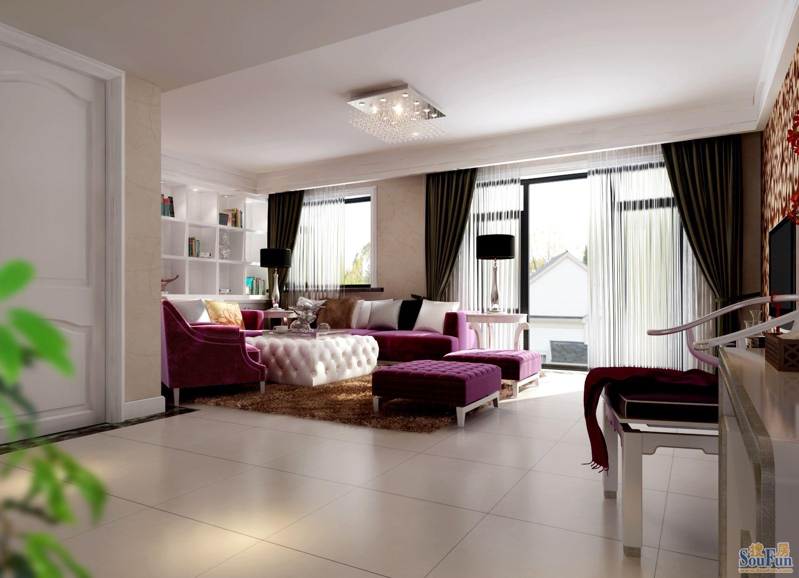 国际-四居室-160㎡-客厅装修效果图-160平4室2厅 现代简约风格装修高清图片