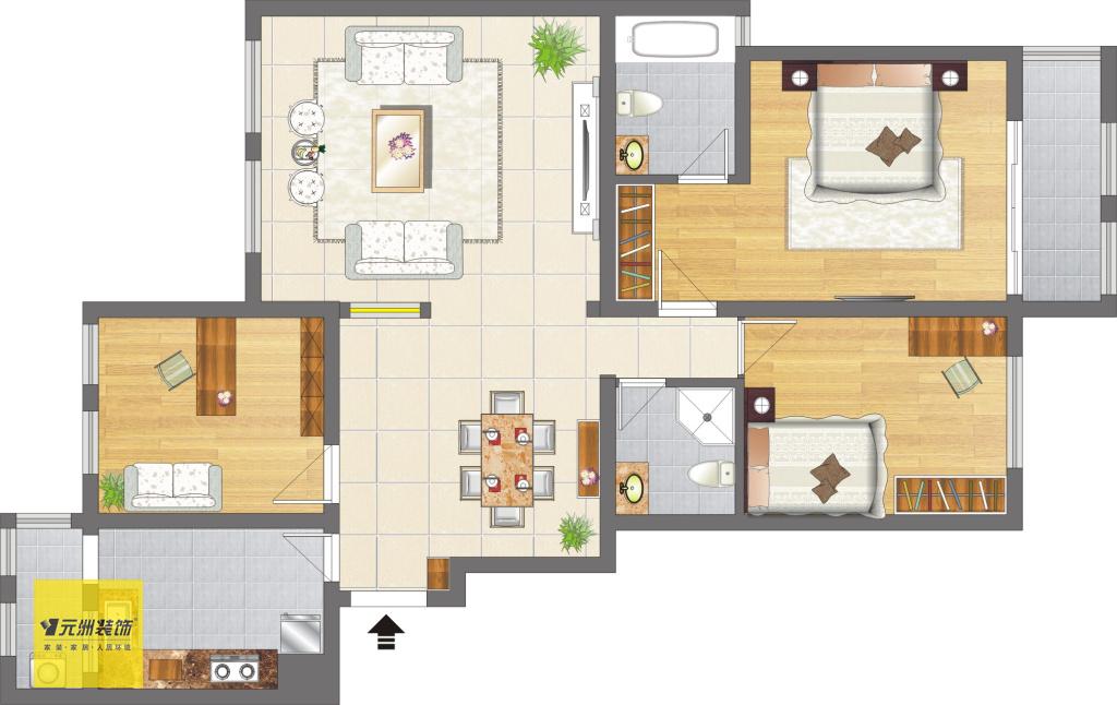 42欧式风格 室内装修效果图 郑州元洲装饰 元洲小雷-现代简约三居室