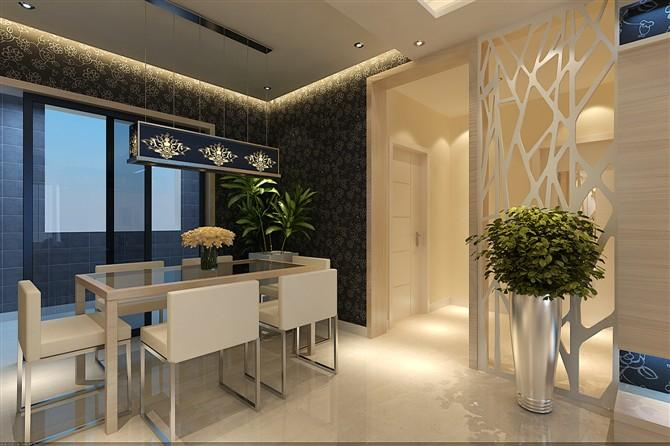 上林溪-三居室-116㎡-餐厅装修效果图-116平3室2厅 现代简约风格装修高清图片