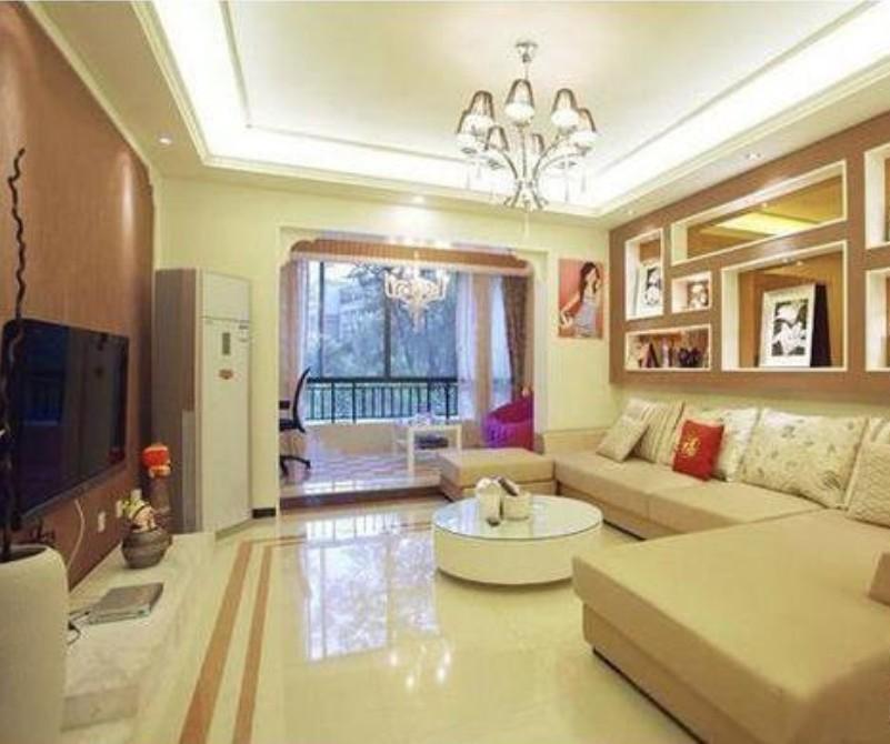 龙山华府-三居室-134㎡-客厅装修效果图-134平3室1厅 现代简约风格装高清图片