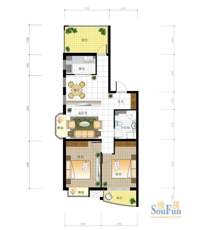 98平2室2厅 现代简约风格装修案例 预算5.2万元高清图片