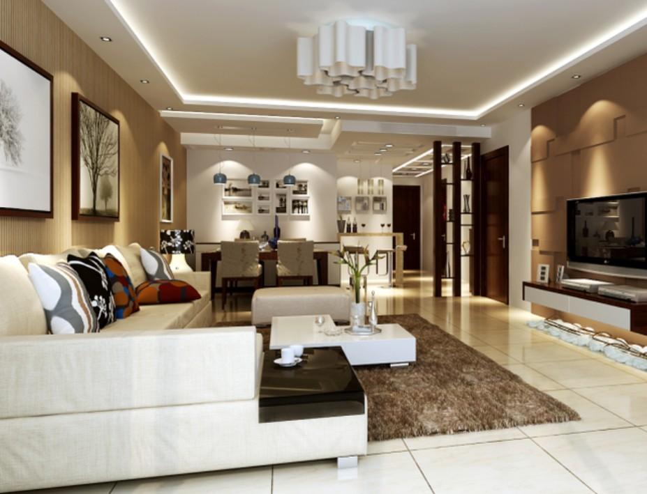 中信城-二居室-95㎡-客厅装修效果图-95平2室2厅 现代简约风格装修案高清图片
