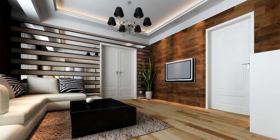 金地仰山-二居室-118㎡-客厅装修效果图-118平2室1厅 现代简约风格装高清图片