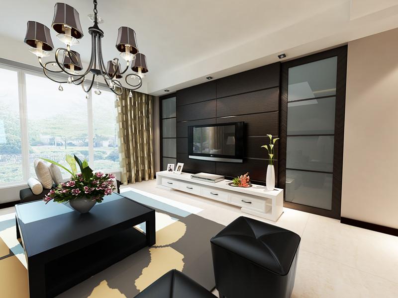 130平3室2厅 现代简约风格装修案例 预算9万元 高清图片