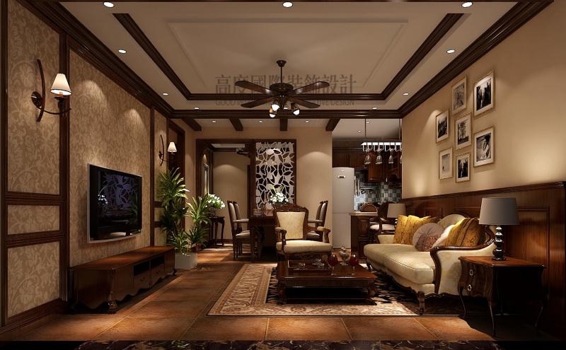 k2·海棠湾-美式风格-二居室-装修案例图片