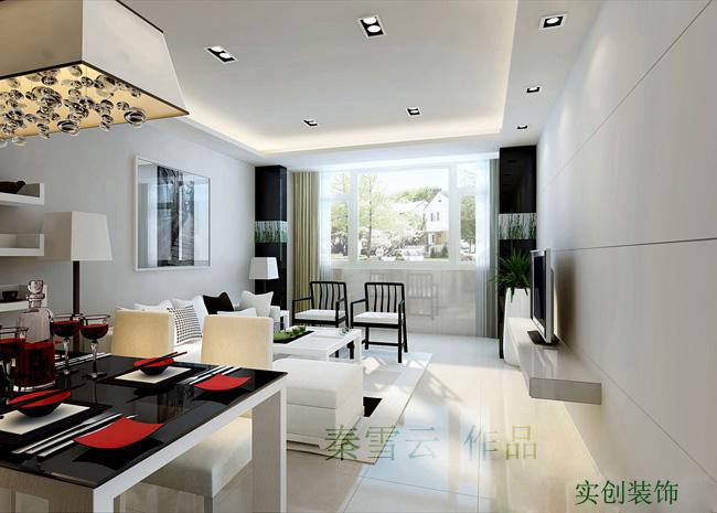 中关村60平米两居室老房翻新现代风格效果图高清图片
