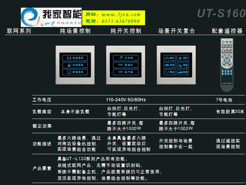 灯光场景联动控制开关ut-s160系列|家庭灯光的智能化