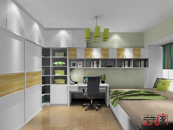 卡喏亚北欧风整体卧室 卧室装修效果图 环保衣柜书柜书桌组合装图片