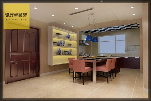 餐厅:与开敞式厨房导台相结合 空间通透采光良好 餐桌旁边装饰柜子