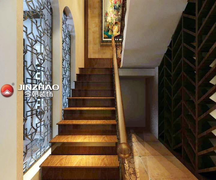 庭半里340㎡别墅楼梯装修设计效果图-美式风格五居室装修效果图