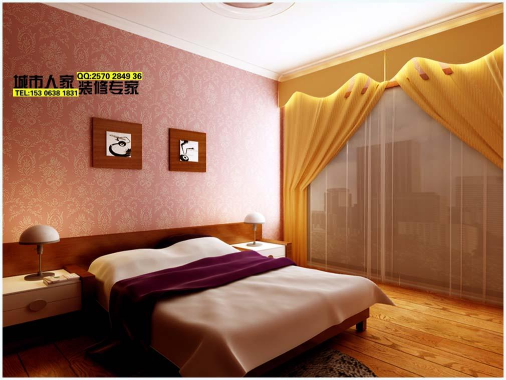次卧室效果图,这个窗帘..嘿嘿